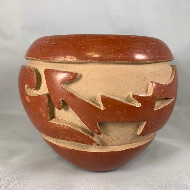 Southwest Mida Tafoya Redware Jar With Carved Avanyu Design For Sale - Image 4 of 13