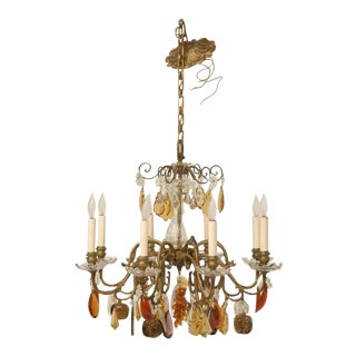 c.1930 Bronze 8 Light Fruit Chandelier For Sale