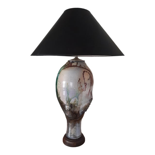 Artist Signed Raku Style 1980s Ceramic Lamp With Shade For Sale