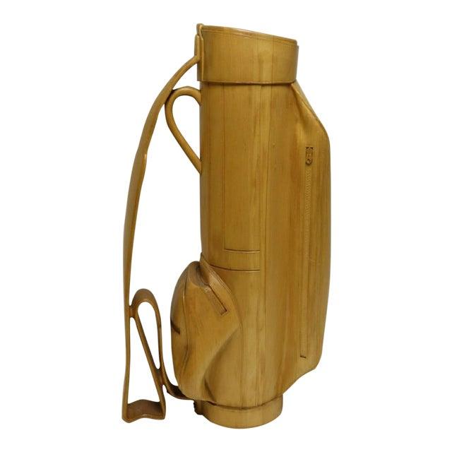 Vintage Carved Wood Decorative Golf Bag For Sale