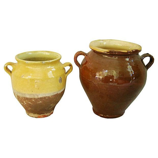French Glazed Double Handled Confit Pots - Pair - Image 1 of 7