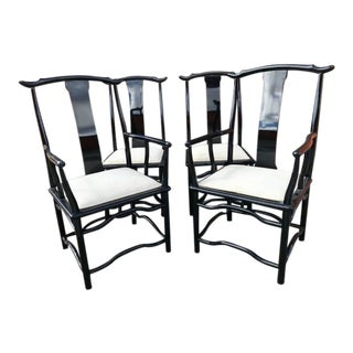 Italian Black Lacquered Ming-Style Chairs - Set of 4