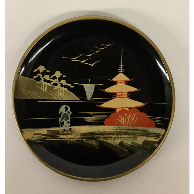 Absolutely breathtaking hand painted set of coasters in a box. These Japanese works of art are rare in this fine...