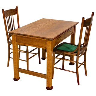 Antique Oak Desk, Breakfast or Library Table, and Two Chairs For Sale