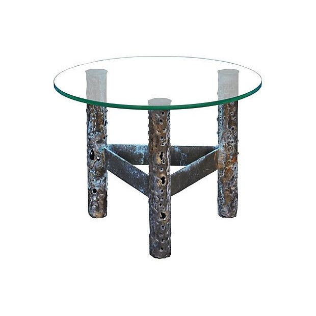 Brutalist Metal & Glass Accent Table - Image 1 of 3