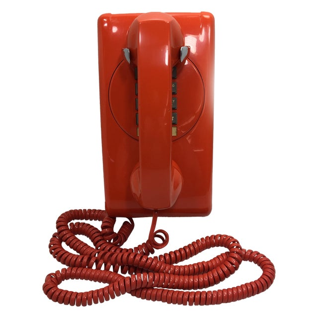 Bright Orange Push Button Wall Phone For Sale