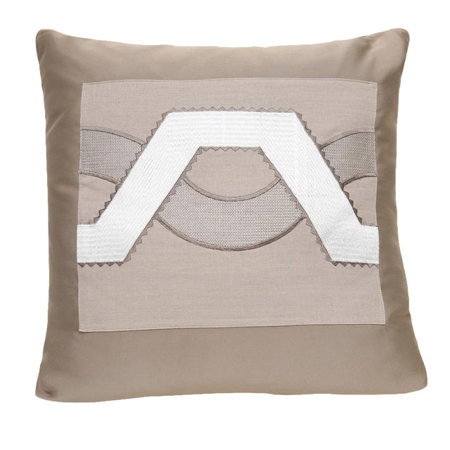 Beige Satin Wave Pillow For Sale