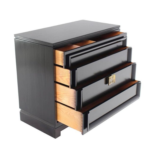 Black Lacquer Four Drawer Bachelor Chest For Sale - Image 10 of 10