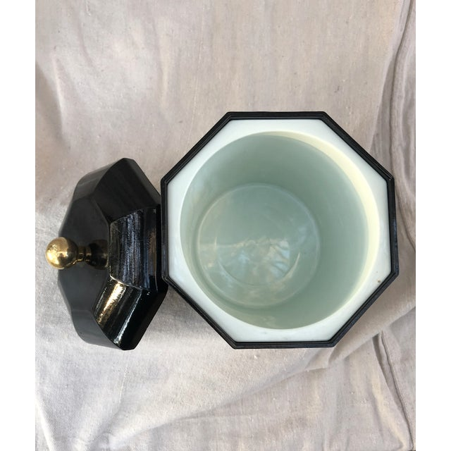 Mid 20th Century Mid 20th Century Black Lacquer Octagonal Ice Bucket For Sale - Image 5 of 8