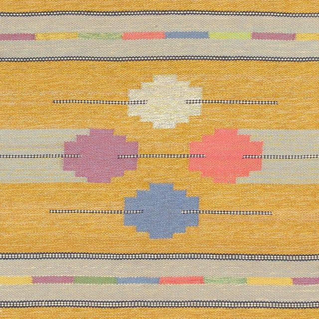 FJ Hakimian Mid 20th Century Swedish Flat Weave Rug- 4′1″ × 7′4″ For Sale - Image 4 of 6