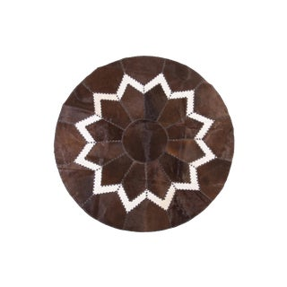 Aydin Cowhide Patchwork Rug - 62in Diameter For Sale