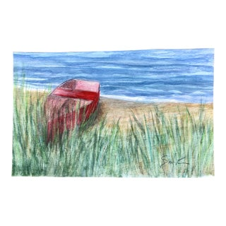 "Nancy Smith ""Beached"" Original Watercolor Seascape Painting For Sale"
