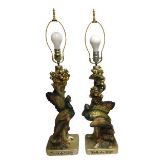 1951 Continental Art Co. Rare Peacock Lamps - a Pair