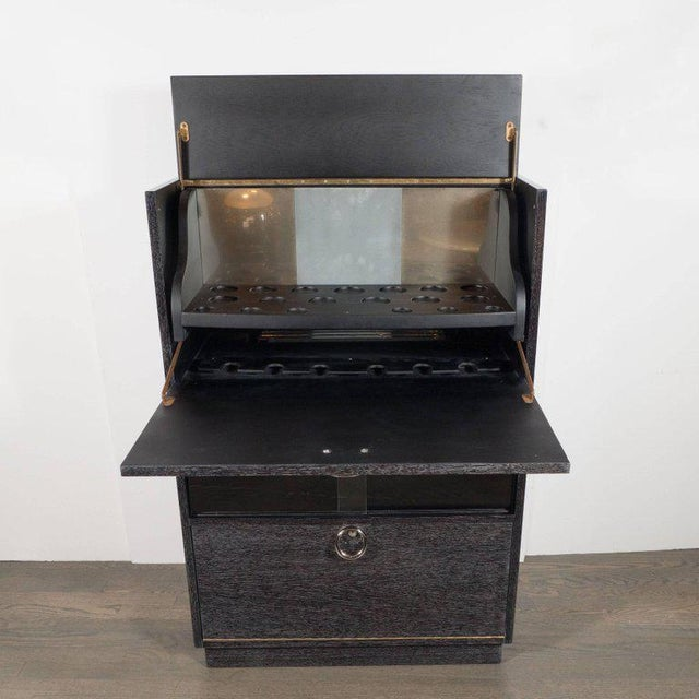 Contemporary Mid-Century Modern Silver Cerused Oak Dry Bar with Nickeled Pulls For Sale - Image 3 of 11