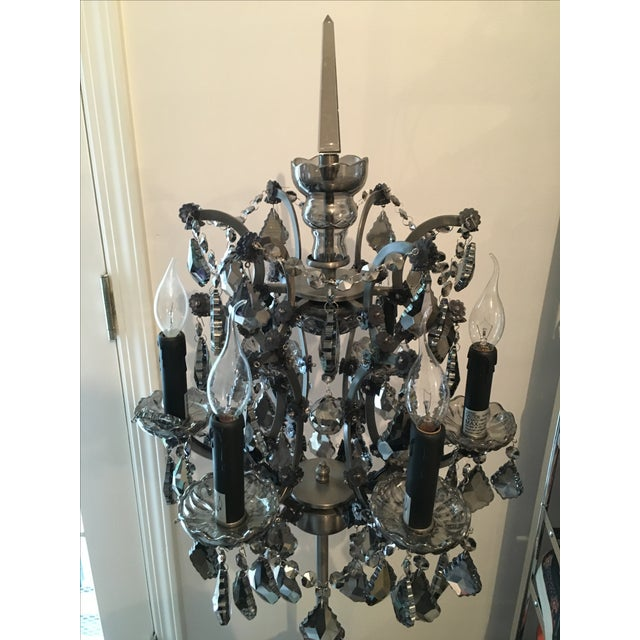 19th C. Rococo Iron & Smoke Crystal Table Lamp - Image 5 of 8