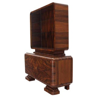 20th Century Art Deco Rosewood Cabinet Bookcase Credenza Display For Sale