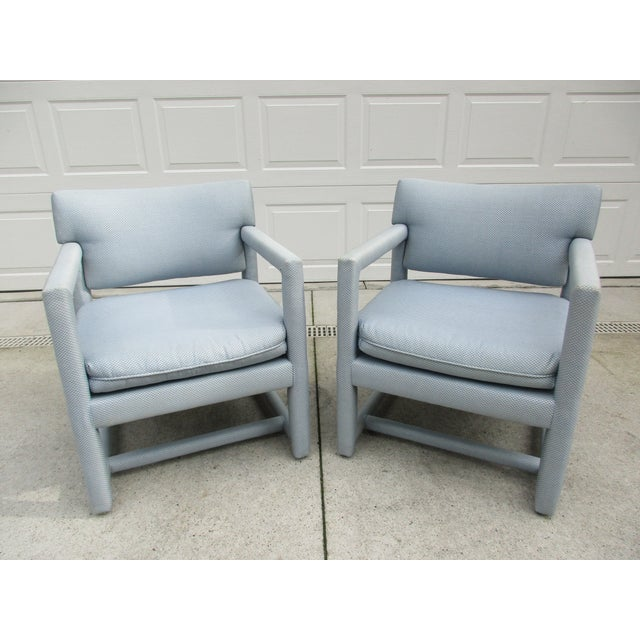 Late 20th Century Parsons Style Arm Chairs -A Pair For Sale - Image 13 of 13