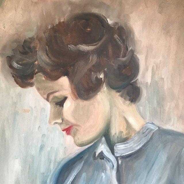 Boho Chic Vintage Female Portrait Painting For Sale - Image 3 of 7