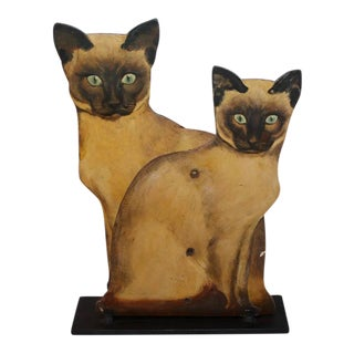Pair of Painted Wood Siamese Cats For Sale