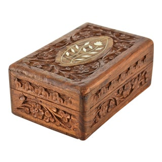 Inlaid Carved Wood Box