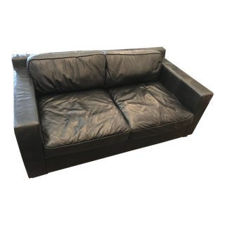 Restoration Hardware Black Leather Collins Sofa