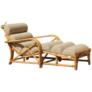 1950s Three Strand Rattan Chaise Longue For Sale