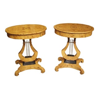 A Pair of Elegant Oval French Burlwood Side Tables For Sale