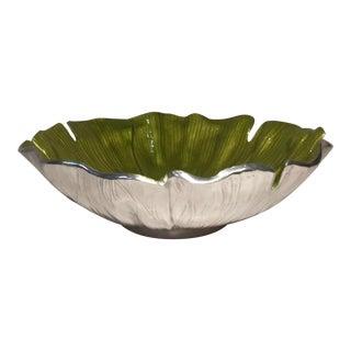 Mariposa Green Enamel Gingko Serving Bowl For Sale