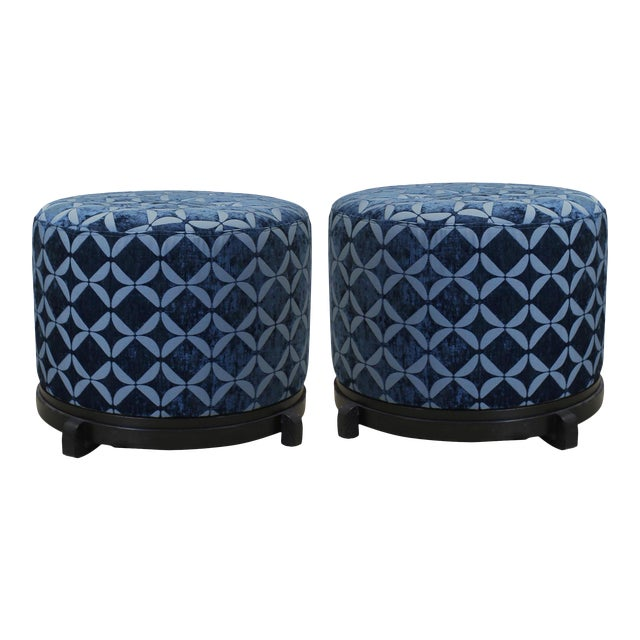 Vintage Blue Upholstered Round Ottomans - A Pair - Image 1 of 5