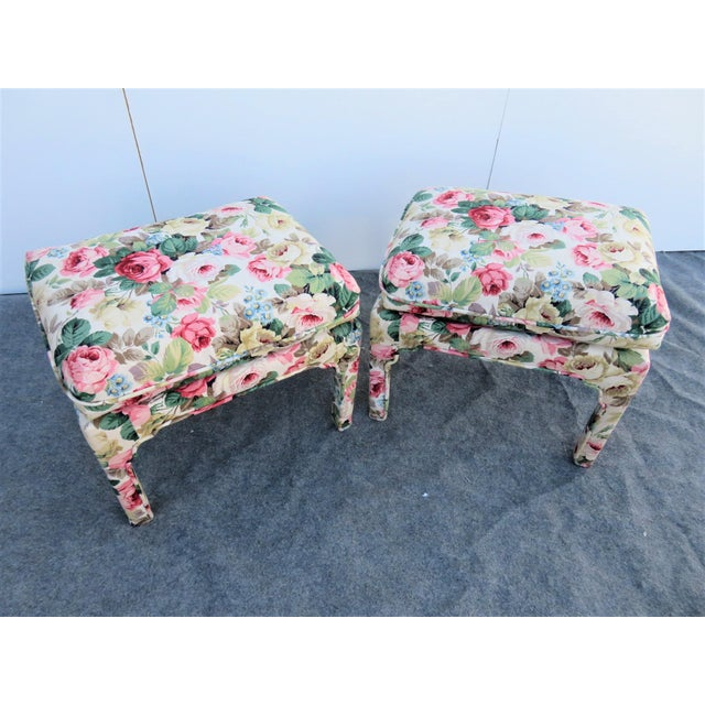 Chinoiserie Late 20th Century Parsons Chinoiserie Style Rose Upholstered Stools - a Pair For Sale - Image 3 of 6