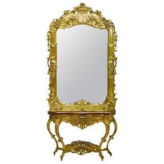 Italian Rococo Style Giltwood Console and Mirror, 19th Century For Sale