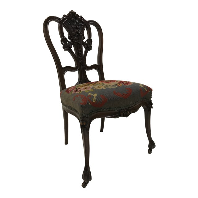 19th Century Art Nouveau Mahogany Side Desk Vanity Chair Attributed to Louis Marjorelle For Sale