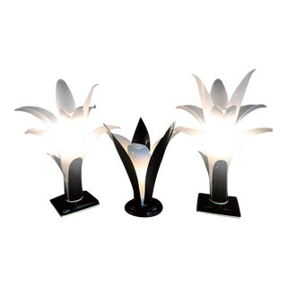 Rougier Style Art Deco Lotus Lamps - Set of 3