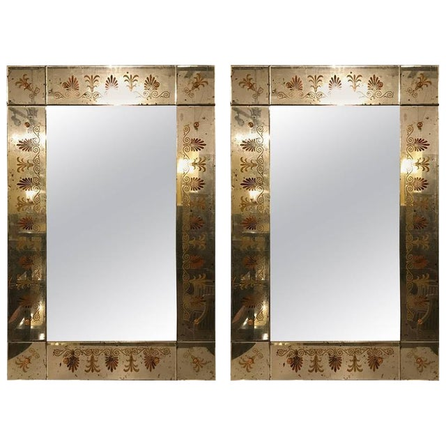 Hollywood Regency Églomiséd Framed Mirrors - A Pair For Sale In New York - Image 6 of 6