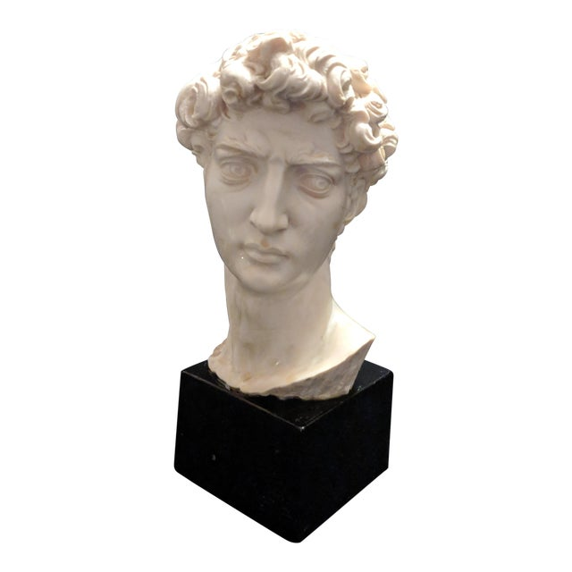 """A. Giannelli Alabaster Sculpture Bust of """"David"""" Marble Base For Sale"""