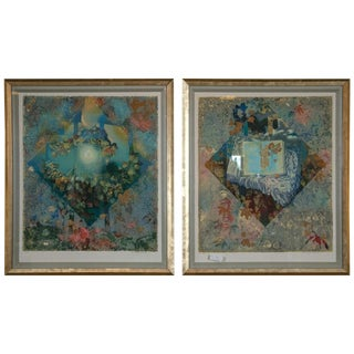 Pair of Framed Serigraphs Signed and Numbered Shraga Weil Hebrew For Sale
