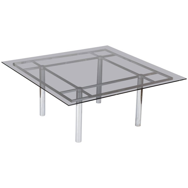 Silver Tobia Scarpa Large Square Chrome Dining Table for Knoll Model André For Sale - Image 8 of 8