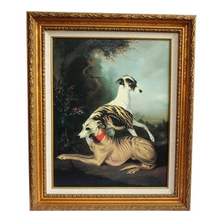 Mid 20th Century Portrait of Two Elegant Dogs Oil Painting, Framed For Sale