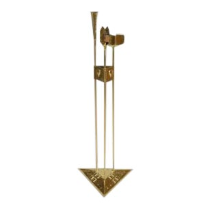 American Mission Arts & Crafts (20th Cent) Brass Smoking Stand on Triangular Base For Sale