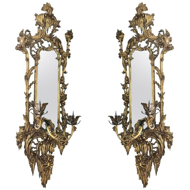 Giltwood Mirrored Wall Sconces For Sale