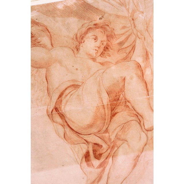 18th Century 18th Century Continental Red Chalk Drawing, Figure Study For Sale - Image 5 of 11