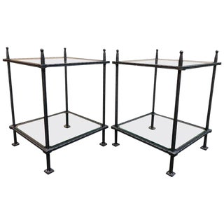 Wrought Iron + Glass Side Tables by Claudio Rayes, A Pair For Sale