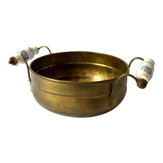 Vintage Mid Century Brass Bowl & Ceramic Handles For Sale