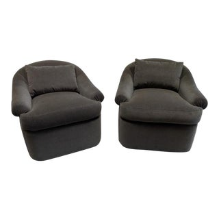 Club Chairs on Hidden Casters in Holly Hunt Mokum Alpaca Velvet - a Pair For Sale