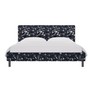 California King Tailored Platform Bed in Deep Blue Sperduti For Sale
