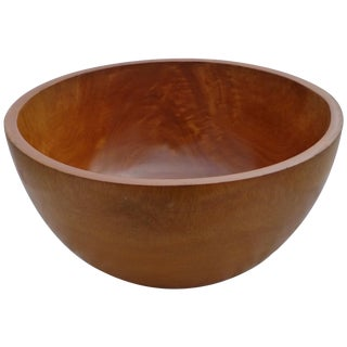 Vintage Flamed Birch Wood Salad Bowl