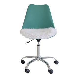 Aqua Rolling Desk Chair with Faux Fur Seat