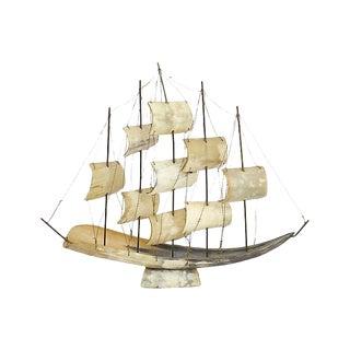 Large Italian Horn Ship Model For Sale