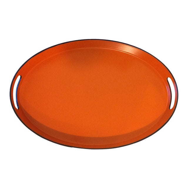 Orange Lacquer Oval Hermès Inspired Serving Tray - Image 1 of 11