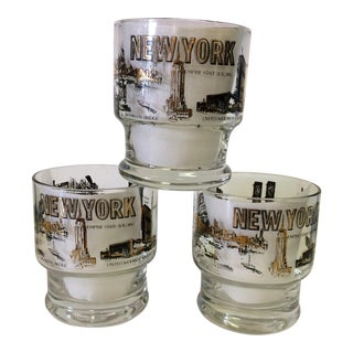 Vintage New York Skyline Image Lo-Ball Glasses -set of 3